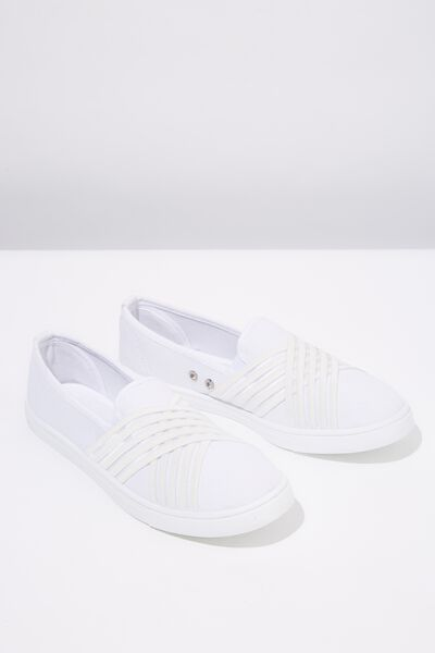Aurora Slip On, WHITE/WHITE STRIPE