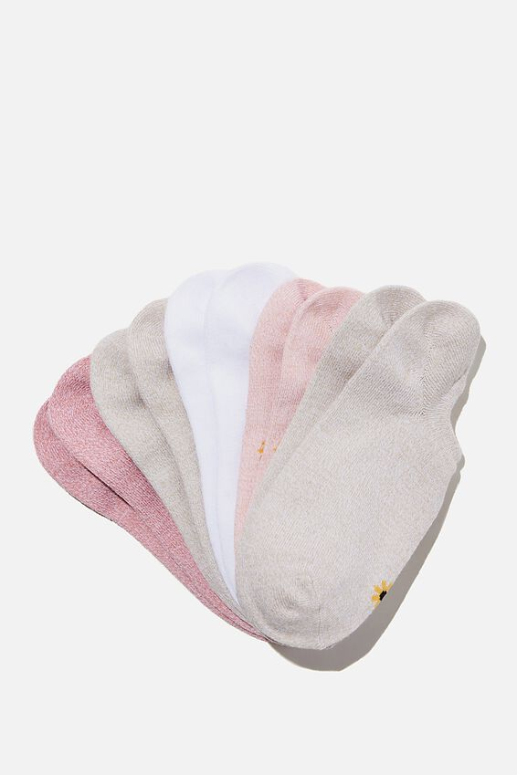 5Pk Sports Low Cut Sock, ROSE TAN SUNFLOWER