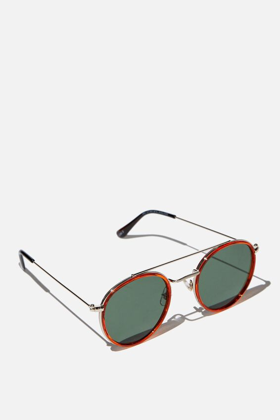 Demi Top Bar Metal Sunglasses, SUNSET TANGARINE