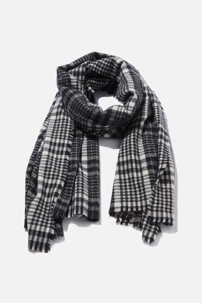Lexi Mid Weight Check Scarf, BLACK NYLA CHECK