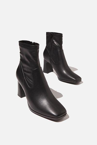 Rhi Square Toe Sock Boot, BLACK SMOOTH