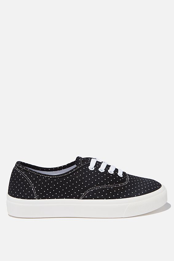 Jamie Lace Up Plimsoll, BLACK POLKA DOT