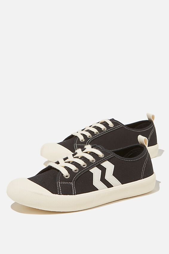 Demi Lace Up Plimsoll, BLACK ECRU STRIPE