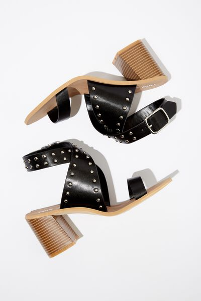 Gabriella Sock Board Heel, BLACK SMOOTH