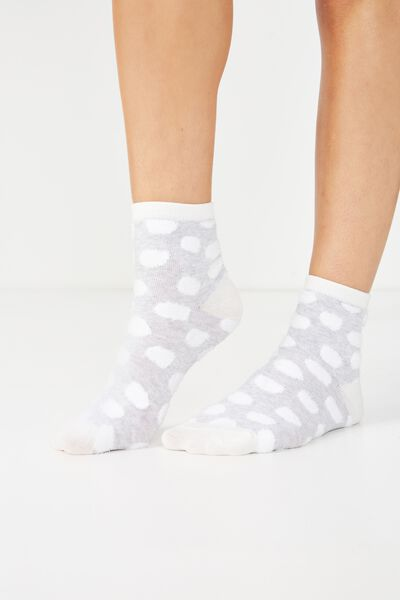 Fun Sock, FLUFFY BIG SPOT GREY MARLE