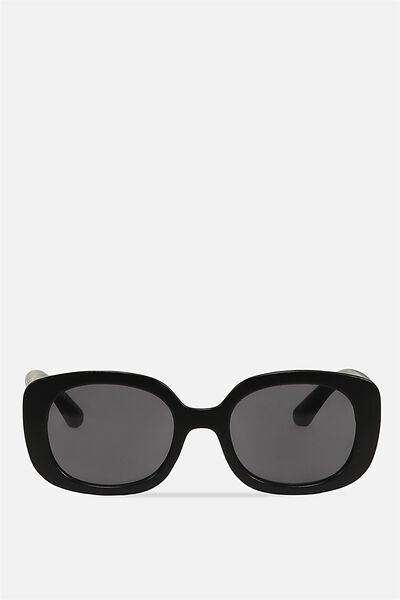 Savannah Oval Square Sunglasses, MATTE BLACK