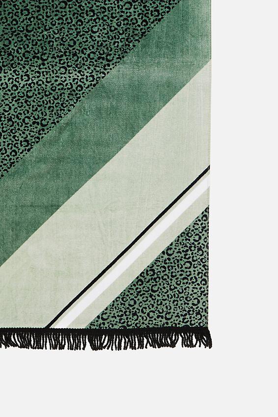 Bondi Rectangle Towel, KHAKI LEOPARD SPLICE