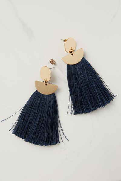 Princess Tassle Statement Earring, NAVY/GOLD