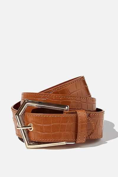 Angular Buckle Belt, TAN