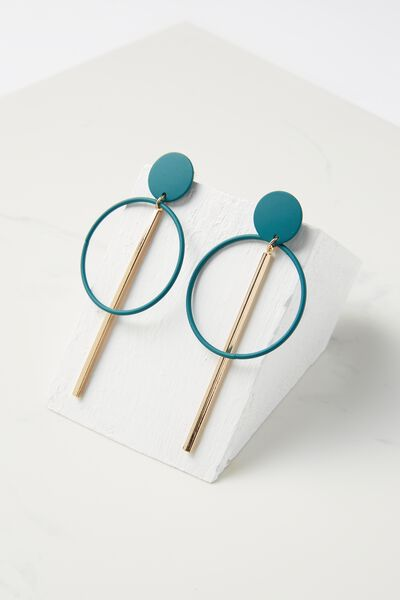 Coloured Double Hoop Statement Earring, JUNE BUG