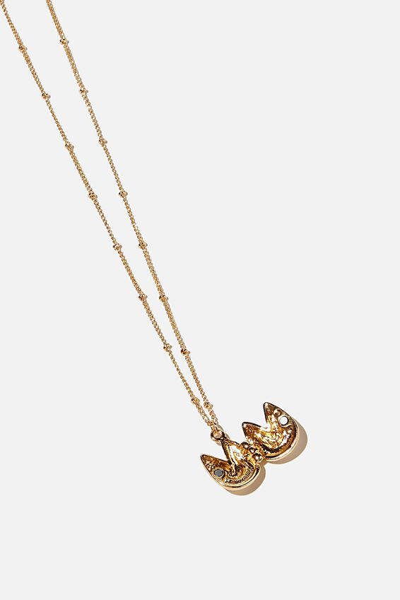 Brighter Days Pendant Necklace, FORTUNE COOKIE GOLD