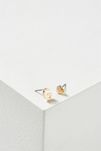 Alpha Stud Earring, GOLD - G