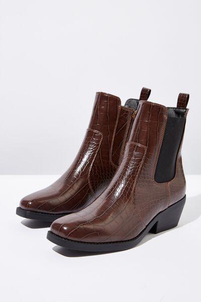 Tessa Square Toe Western Boot, CHOC CROC EMBOSS PU