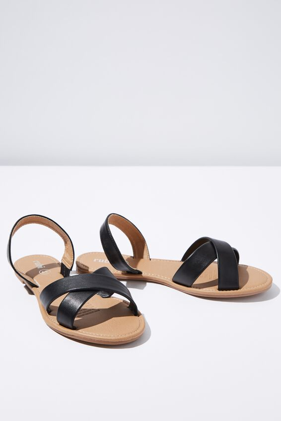 Everyday Banting Crossover Sandal, BLACK PU
