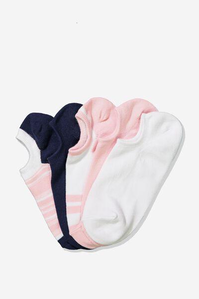 5Pk Sports Low Cut Sock, BLUSH VARIGATED STRIPE