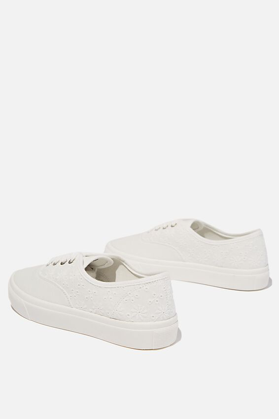 Jamie Lace Up Plimsoll, WHITE BRODERIE