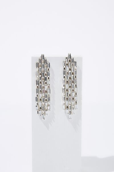 Daytime Bling & Glow Diamante Earring, SILVER
