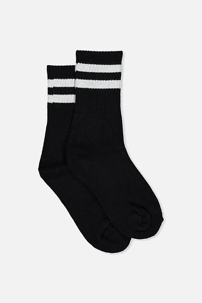 Sporty Stripe Crew Sock, BLACK/WHITE STRIPE