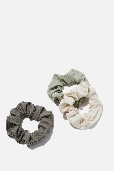 3Pk Scrunchies, KHAKI RIB TRIO