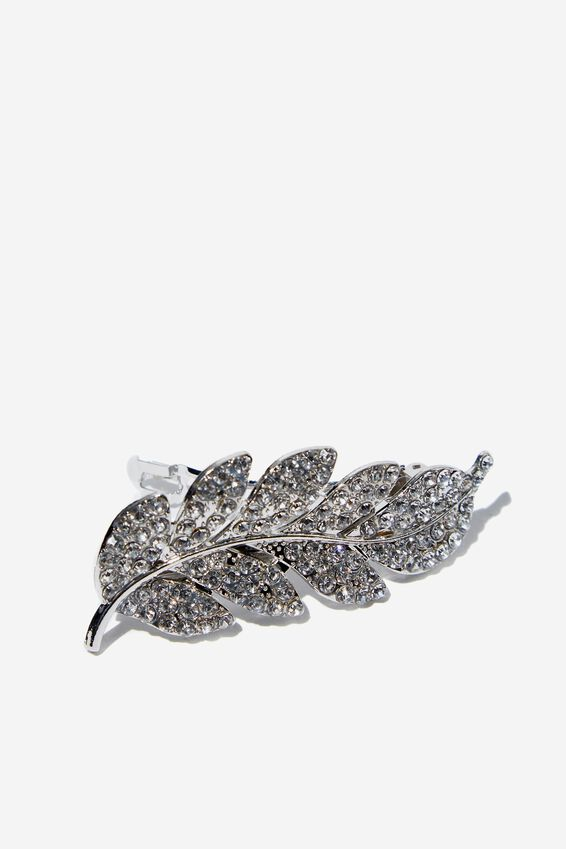 Sweet Leaf Hair Barrette, SILVER