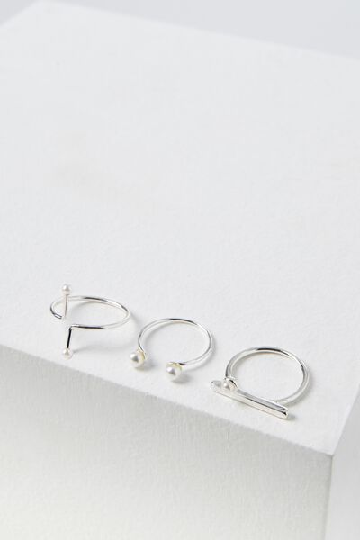 Pearly Ring Set, SILVER
