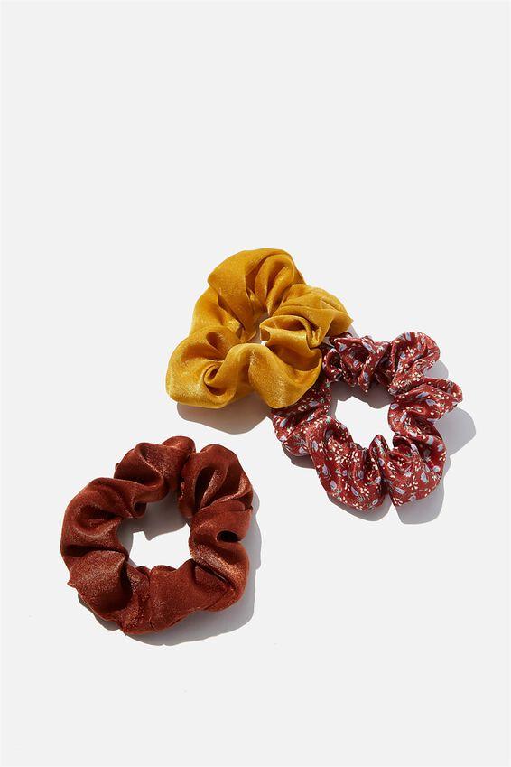 3Pk Scrunchies, EARTHY SATIN TRIO