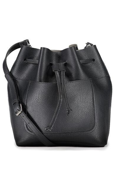 Sandy Bucket Handbag, BLACK