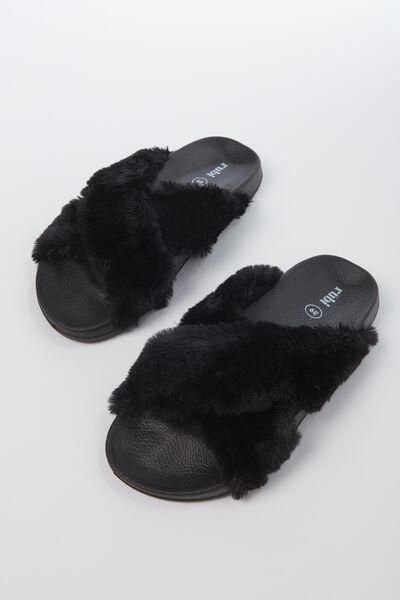 Max Xover Fluffy Sandal, BLACK MONO