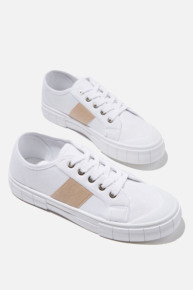 Peggy Lace Up Plimsoll, WHITE PINK SIDE STRIPE