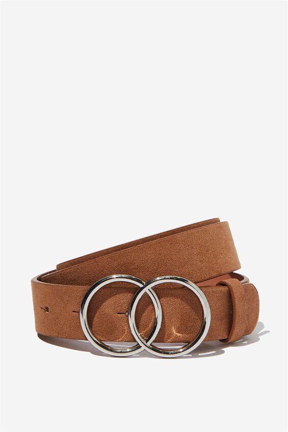 Double Circle Belt, TAN MICRO W SILVER