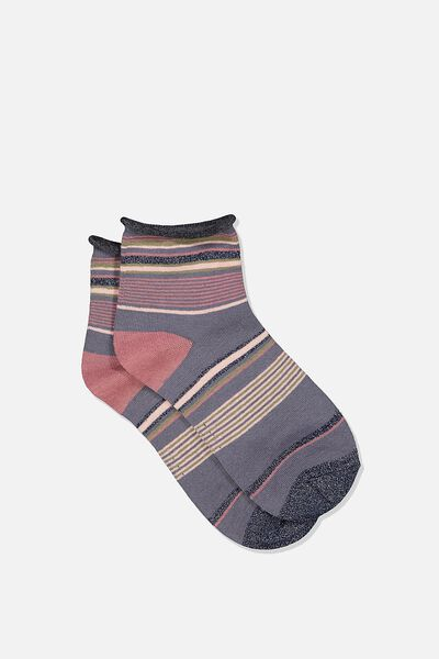 Roll Top Quarter Crew Sock, GRISAILLE MIX STRIPE