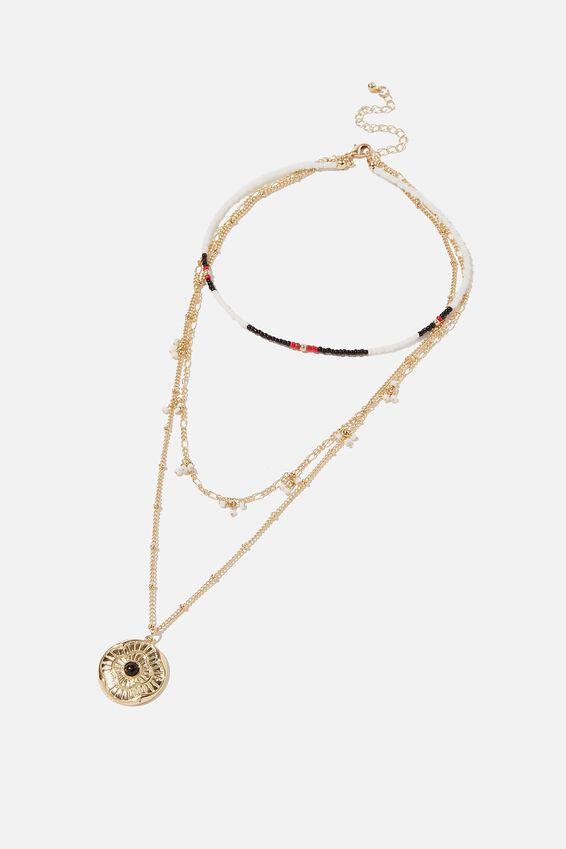 San Antonio Necklace, BLACK/WHITE