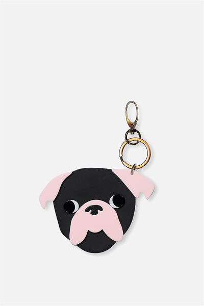 Pug Life Bag Charm, BLACK/BARELY PINK