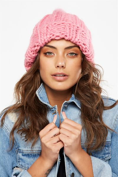 Lazy Days Rib Beanie, CANDY PINK