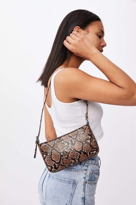 Lexi Underarm Bag, BROWN/BLACK MULTI TEXTURE