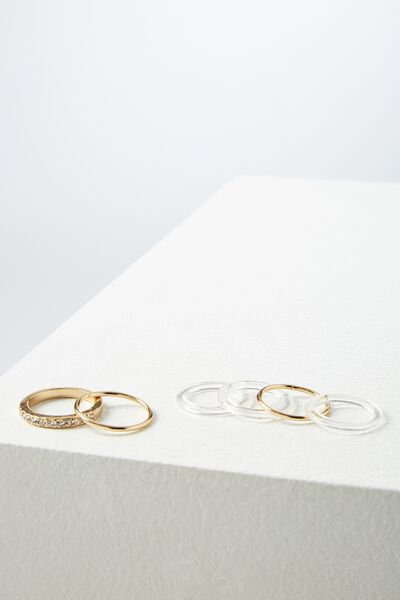 Sasso Ring Set, CLEAR GOLD
