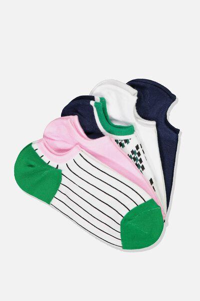 5Pk Sports Low Cut Sock, WHITE GEO