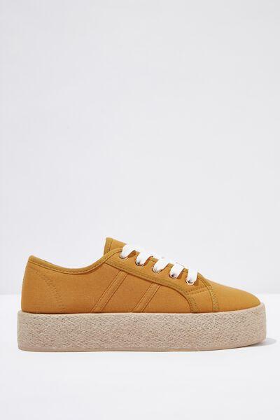 Willow Espadrille Sneaker, MUSTARD TWILL