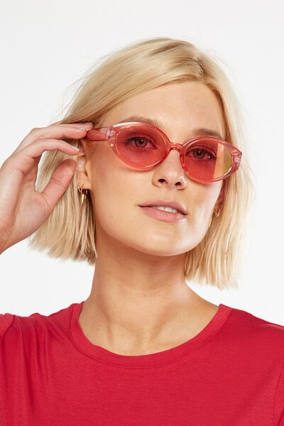 Charlotte Oval Sunglasses, PINK TINT