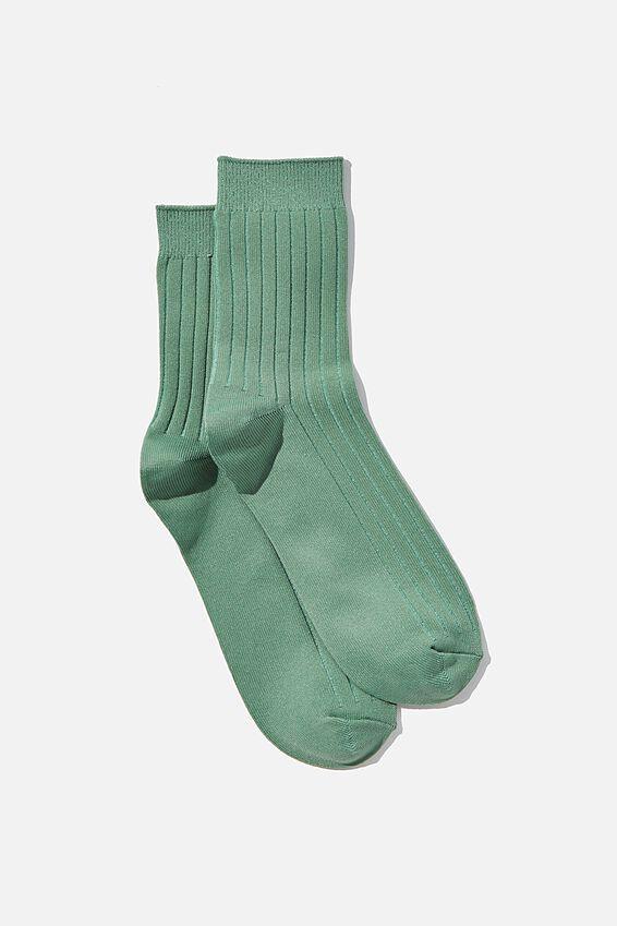Slinky Ribbed Sock, LUSH GREEN