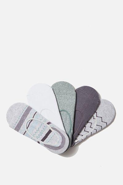 5Pk Low Cut Sock, GRISAILLE CHEVRON