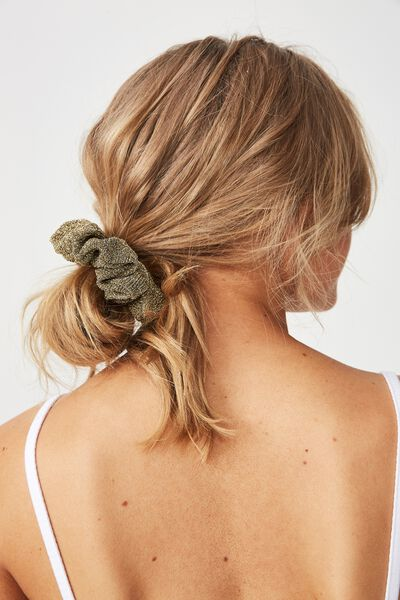 Luxe Scrunchie, GOLD SPARKLE