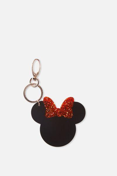 Minnie Bag Charm, BLACK/RED GLITTER