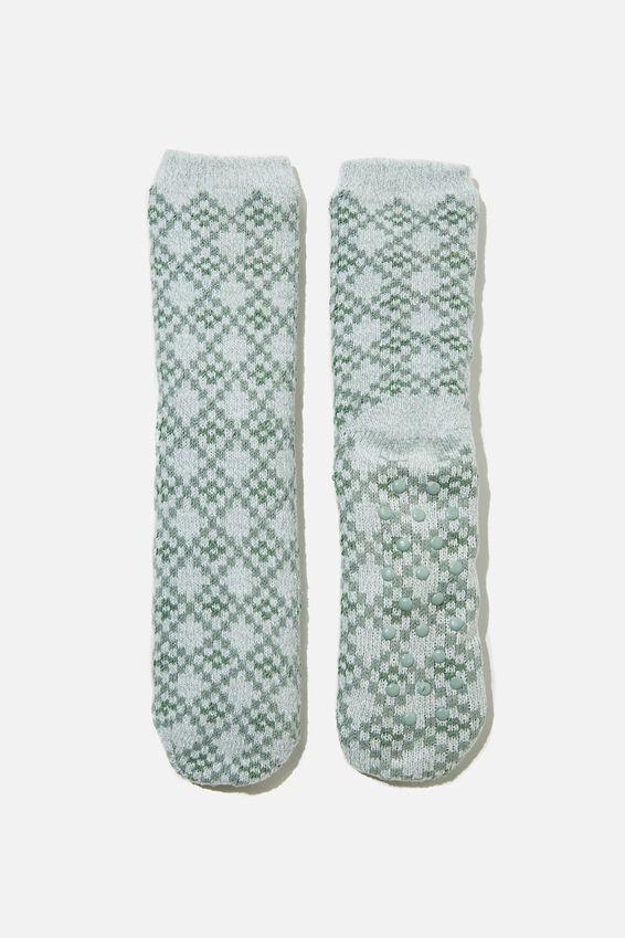 Coc Loungin Round Sock, GEO LUSH GREEN