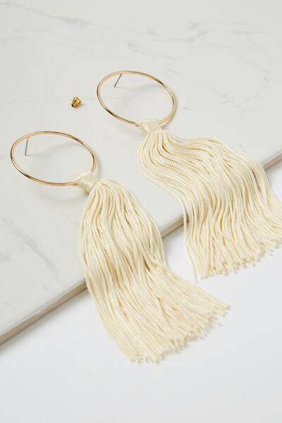 Long Tassel Earring, CREAM