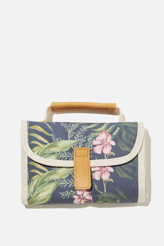 Reusable Lunch Bag, NAVY TROPICAL