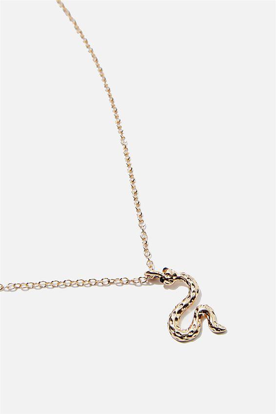 Treasures Short Pendant Necklace, GOLD SNAKE CHARM
