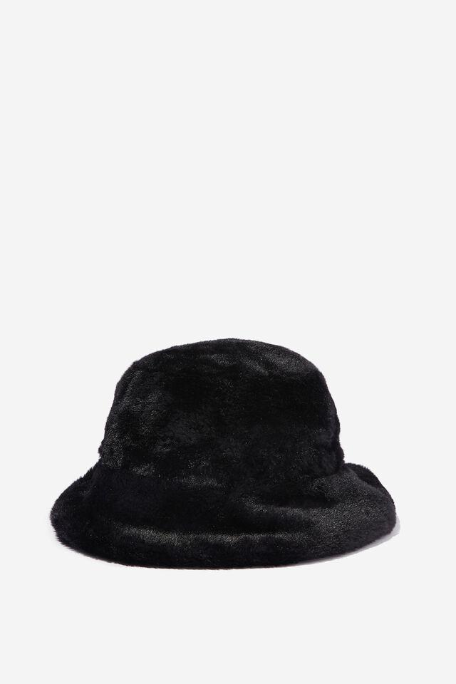 Bianca Bucket Hat, BLACK FLUFFY