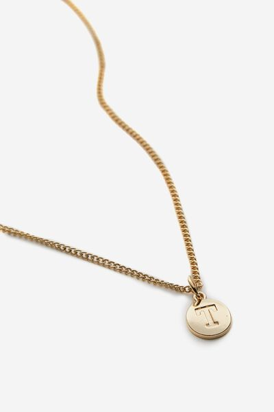Letter Charm Necklace, GOLD T