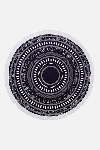 Byron Round Towel, NAVY MANDALA